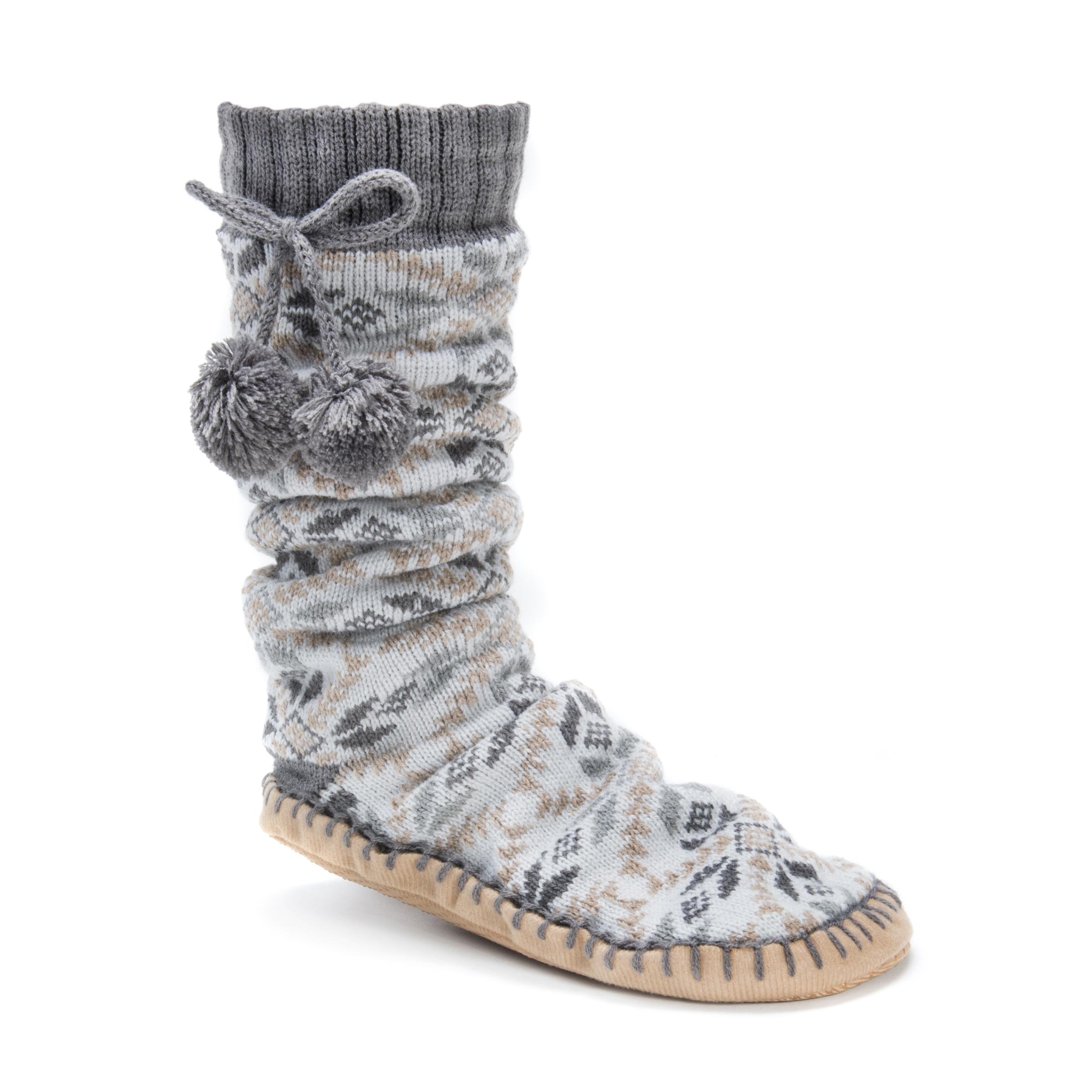 MUK LUKS® Women's Slipper Socks with Poms – Ash | Slippers.com - Shop Comfy