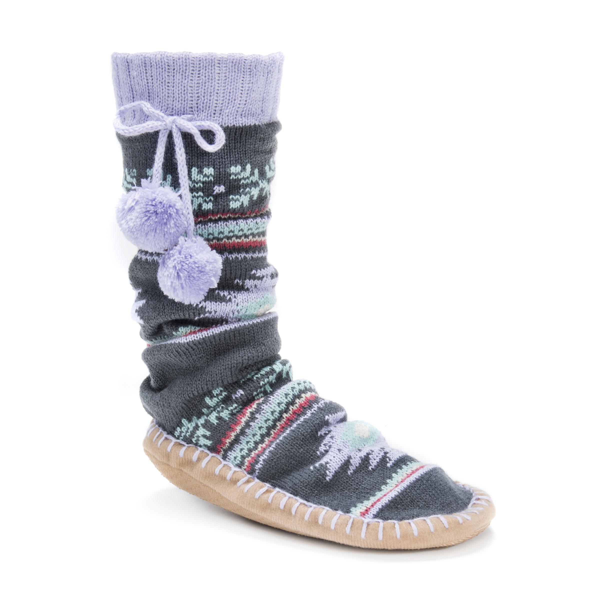 MUK LUKS® Women's Slipper Socks with Poms – Sweet Pea | Slippers.com - Shop  Comfy