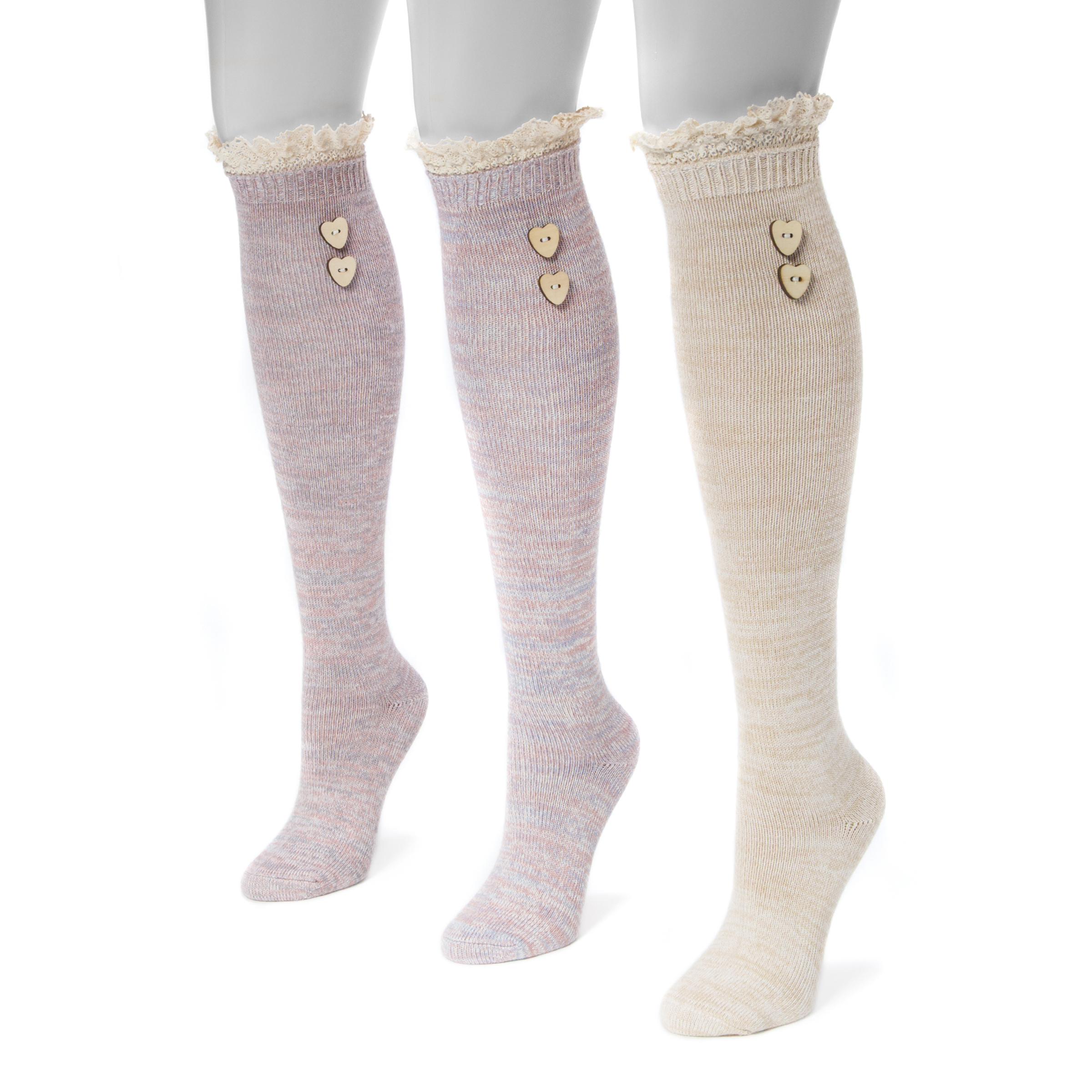 951fd7f99 MUK LUKS® Women s 3 Pair Pack Lace Top Knee High Socks