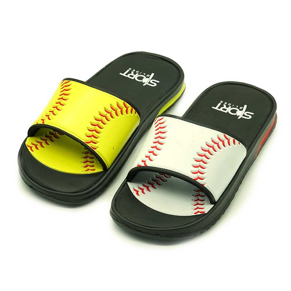 Softball Sportslide Sandal White Red Lime Slippers