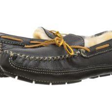 Minnetonka - Sheepskin Lined Moose Slipper (Black Moose) Men's Moccasin Shoes