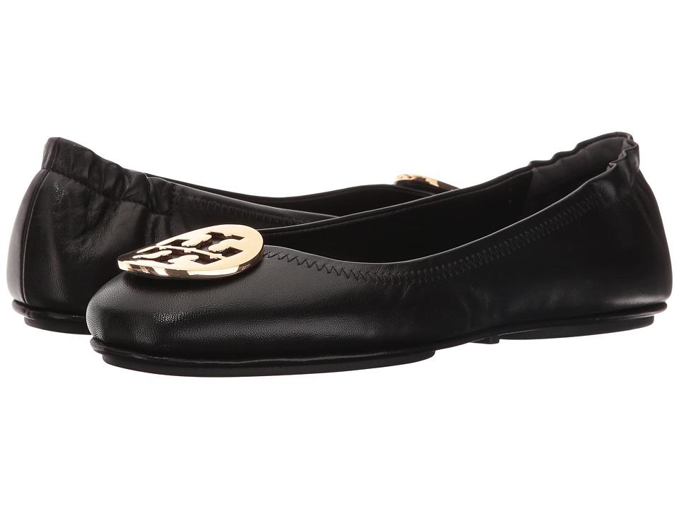 eda80a5d685d0 Tory Burch Minnie Travel Ballet Flat (Black Gold) Women s Shoes ...