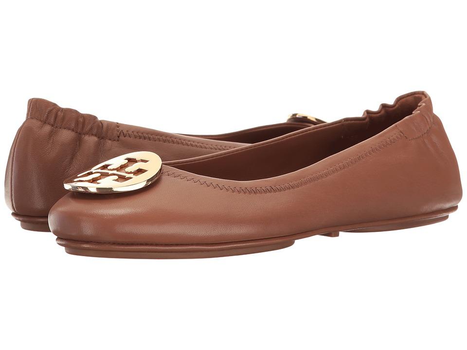 7dc1d66f5b14 Tory Burch Minnie Travel Ballet Flat (Royal Tan Gold) Women s Shoes ...