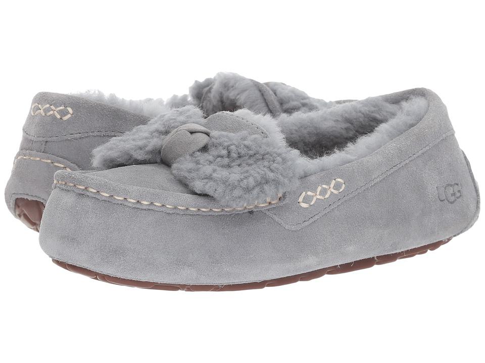 e4de52a565a UGG Ansley Fur Bow (Geyser) Women's Slip on Shoes