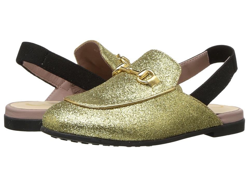 366808877 Gucci Kids Princetown Metallic Slipper (Toddler) (Gold) Kids Shoes ...