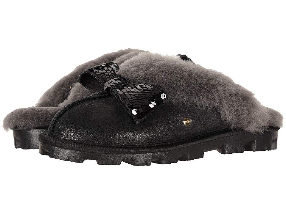 711844454eb UGG Coquette Sequin Bow Slipper (Black) Women's Slippers
