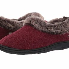 Acorn Faux Chinchilla Collar (Crackleberry) Women's Slippers