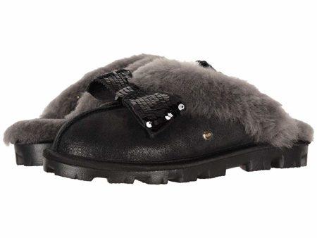 UGG Coquette Sequin Bow Slipper (Black) Women's Slippers
