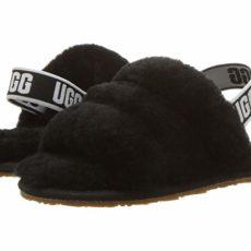 UGG Kids Fluff Yeah Slide (Toddler/Little Kid) (Black) Girls Shoes