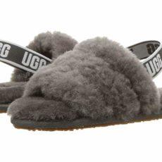 UGG Kids Fluff Yeah Slide (Toddler/Little Kid) (Charcoal) Girls Shoes