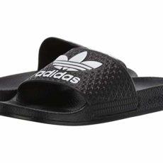 adidas Originals Kids Adilette (Little Kid/Big Kid) (Black/White) Kids Shoes