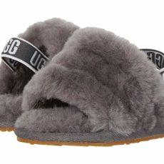 UGG Kids Fluff Yeah Slide (Infant/Toddler) (Charcoal) Girls Shoes